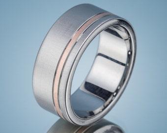 Men's Wedding Band Stainless Steel Rose Gold Ring