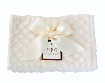 s a l e - Vanilla Cream Minky Dot Baby Burp Cloth Set { Boys, Girls, Unisex } Ivory, 103