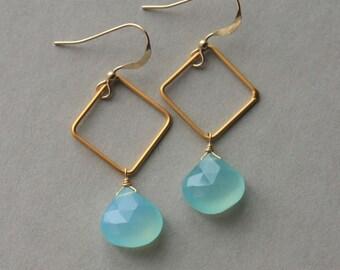 Faceted Chalcedony Earrings, Aqua Chalcedony Earrings, Gemstone Briolette Earrings, Drop Earrings, Gold Vermeil Earrings, Geometric Earrings