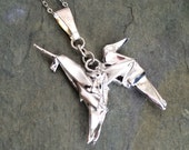 Hand Folded Silver Origami Unicorn Pendant - Blade Runner