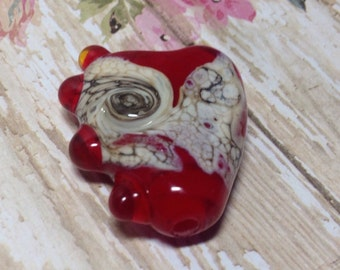 Old Swirled Lace Handmade Lampwork Glass Bead Heart Focal