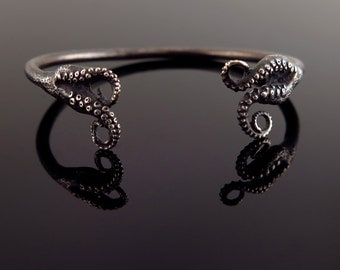SALE - Ready to Ship,Tentacle Jewelry, Octopus Bracelet, Tentacle Sterling, OctopusME- Double Tentacle Split Bangle