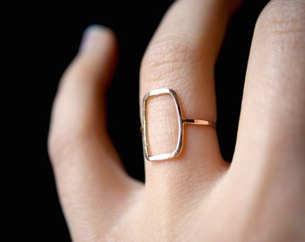 Skinny Gold Rectangle ring, gold rectangle ring, skinny gold square ring, 14k gold infinity ring, hammered gold ring, geometric ring