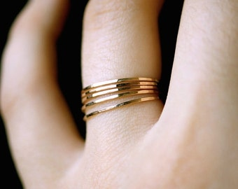 Ultra Thin Gold Filled stacking rings set of 5, 14K gold fill stacking rings, skinny gold stacking ring, hammered gold ring, gold rings