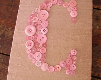 Nursery Wall Art, Personalized Letter Art, Button Letter C on Silk, Baby Girl Nursery Decor, Button Art, Baby Shower Gift, Unique Baby Gift