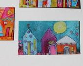 NEW Special Offer-Mini art magnets  BEACH HOUSES 'Sun Rise Inn' in blue, purple, orange  by Jodi Ohl
