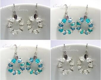 Swarovski Crystal Rondelle Earrings, Silver White and Teal Swarovski Crystal Earrings (E018-01)