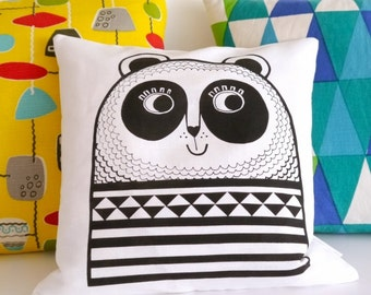 Screen Printed Happy Panda Cushion Pillow by Jane Foster  -  monochrome black and white