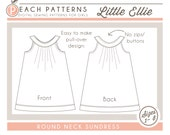 ON SALE* Little Ellie Round Collar Yoke Neck Dress Instant Download PDF Sewing Pattern Toddlers and Girls Sizes 1, 2 - 3, 4 - 5, 6 - 7 and 8