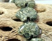 Green Ryolite Jasper Zuni Bear Beads 1 Pair for earrings Dreamcatchers