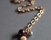 Gold Link Bracelet, Peacock Pearl, Crystal Dangle, Soft Matte Gold Chain Bracelet,  Real Pearl Freshwater, Swarovski Crystal, Mother's Day
