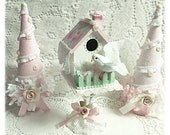 BIRDHOUSE Shabby Cottage Hand Painted Pink/White Victorian Green Chic ROSES ECS sct schteam