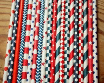 50 Red & Navy Paper Straws -- Party Straws -- Drinking Straws