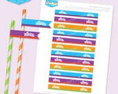 Instant Download - WONKA Inspired Straw Flags - DIY Printable