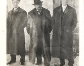 vintage photo FAther in Bear Fur Coat and Sons Smokes Cigar Alaska