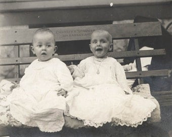 vintage photo Daisy Baby and Baby Cousin White Lace Dresses Emieiher and Spielman Kansas Bench