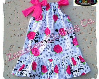 Girl Valentines Day Pillowcase Dress Heart Rose Pink Custom Boutique Clothing Toddler Baby 3 6 9 12 18 24 Month Size 2t 3t 4t 5t 6 7 8