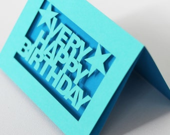 Very Happy Birthday Papercut Greetings Card - Turquoise With Any Inlay Colour