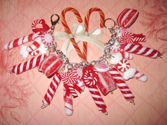 Candy Cane Charm Bracelet Christmas Bracelet Sweet Peppermints Candy Cane Jewelry Chunky Fun Mints Eclectic Statement Piece OOAK