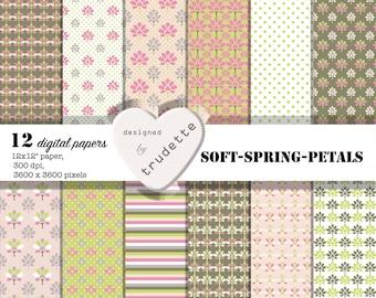 Digital Pastel Paper: Spring Scrapbook Paper, Dusty coloured Digital Scrapbook Paper 12x12, Digital Download  12 Pages, Floral paper
