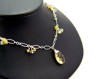 Sterling Silver Citrine Necklace || Sterling Silver Necklace || Citrine Necklace
