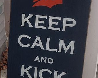 Keep Calm and Kick Ass Detroit Tigers Handpainted Wood Sign Plaque Baseball Decor Tiger