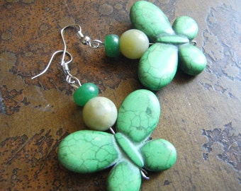 Lush Butterfly Howlite and Glass Beaded earrings