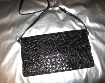 Black Faux Croc Clutch - Vintage 1980's Faux Leather Handbag Purse - Optional Shoulder Strap - Structured - by BR