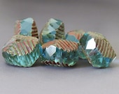 Aqua Picasso Czech Glass Bead 14x10mm Curvy Rondell : 6 pc