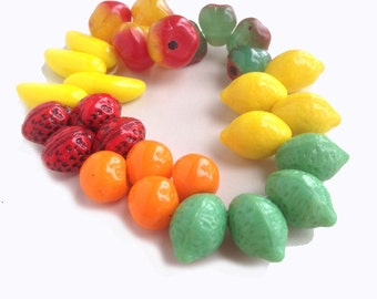 Fruit Only Salad Mix Glass Beads Great for Carmen Miranda 4 of Each Fruit Listed, No Junky Stuff