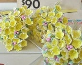 Welcome Spring Sale / Vintage Millinery / Forget Me Nots / Bright Yellow / Three Charming Bouquets