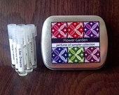 6 Perfume Oil Samples in a Metal Tin - Flower Garden Collection