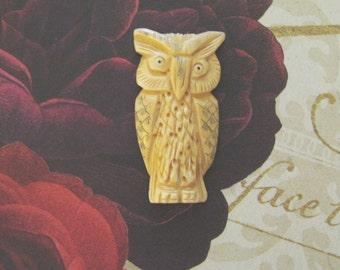 Handmade Bone Owl Focal Bead, Hand Carved, 60mm