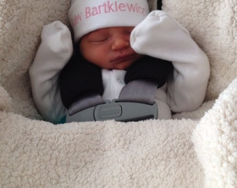 EXTRA Small Custom Made Embroidered Monogrammed Preemie Hat **Mailed Quickly!**