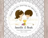 PRINTABLE First Holy Communion Favor Tags in Silver Gray / Twins, Siblings, Cousins / Choose Your Hair Color and Boy or Girl / You Print