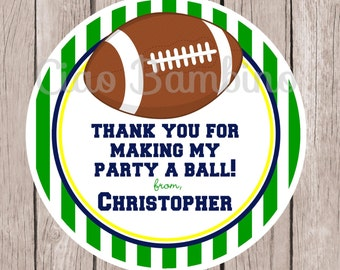 Football Birthday Party Favor Tags or Stickers / Set of 12 Tags