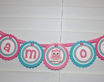 OWL High Chair Banner / Owl Banner / Owl Birthday Banner / Owl Birthday Party / Owl Baby Shower / Owl Birthday / Owl Party Banner / I am one