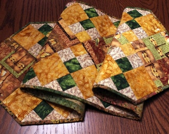 Elegant Quilted Table Runner, Warm Colors, Greens, Neutrals, Fall Table Decor, Quiltsy Handmade
