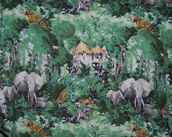VINTAGE FABRIC African jungle safari boys bedding cutter fabric 1950s 1960s vintage Hatari Tarzan hunting fabric