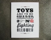 Vintage Sign Toys Are to be Shared Art Letterpress Print• Poster Decor • 11x14 • Ink petals