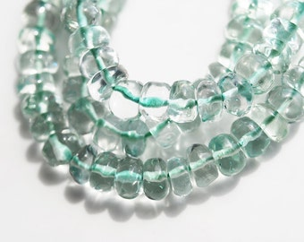 Half Strand, Green Amethyst Plain Rondell Beads, 6x4MM
