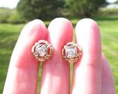 Old European Cut Diamond Stud Earrings, Fiery Old Cut Diamonds, Lovely Art Deco Design and Details in Solid Gold