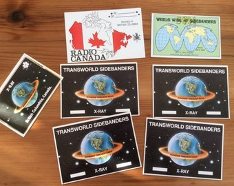 Transworld Sidebanders Postcards, CB Sideband Radio QSL Cards, Lot of 7, from British Columbia, Canada. Collectible Vintage Postcards.