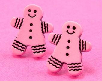 Gingerbread Man Stud Earrings - Christmas Cookie Ear Posts - Pink - Kawaii