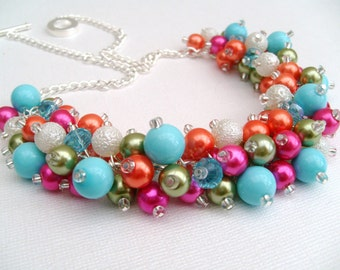 Pearl Beaded Necklace, Hot Pink, Orange, Turquoise, Lime Green, Bridesmaid, Bridal Jewelry, Cluster Necklace, Chunky Necklace, Wedding