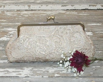Custom Order for Jaclyn - Champagne Lace Bridesmaid Clutches / Lace Wedding Clutches / Wedding Gift / Bridal Clutch