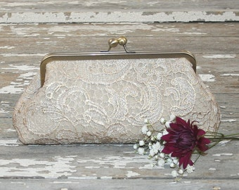 Champagne Lace Bridesmaid Clutches / Lace Wedding Clutches / Wedding Gift / Bridal Clutch