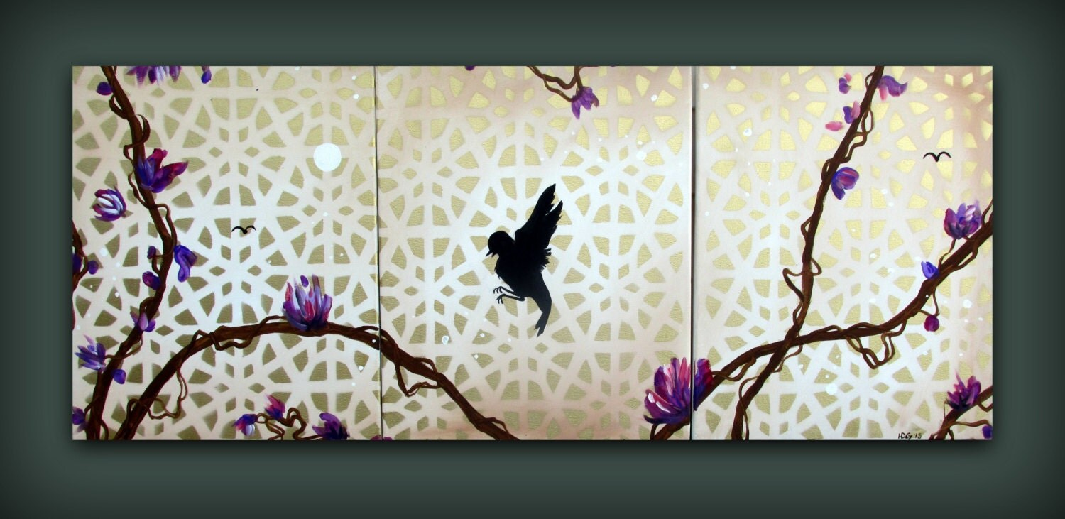 Purple and Gold Canvas PaintingBird on a