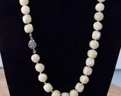 Vintage Iridescent Natural Mother Of Pearl Beaded Hand Knotted Necklace with Sterling Clasp