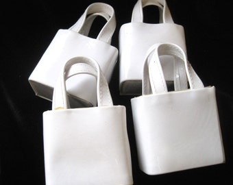 20 Miniature White Patent Leather Handbags Purses for Crafting Decorating